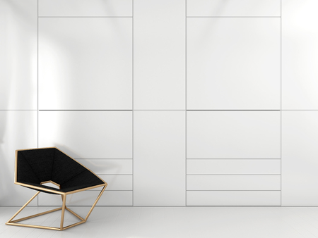Stylish geometric chair with brass frame near the white closet Banco de Imagens