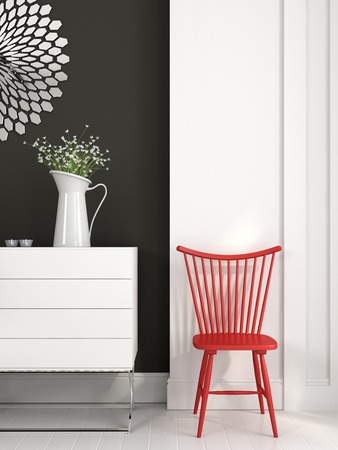 baseboard: Stylish red chair in black and white interior