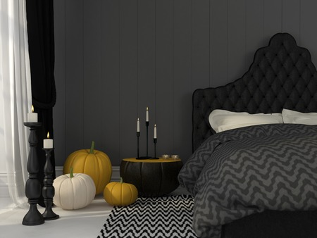 halloween: Classic black bedroom decorated with pumpkins and candles for Halloween Stock Photo