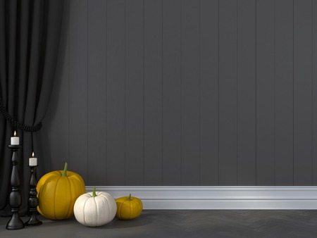 baseboard: Decorations for Halloween against the wall of grey boards