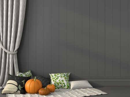 curtain background: Pillows with print topical for Halloween against the backdrop of gray wall and curtain