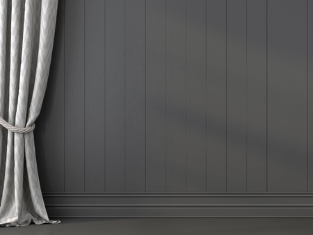 Elegant curtain against the dark gray wall made of boards