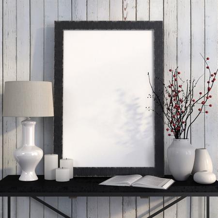 marcos cuadros: Burlarse de cartel en la mesa de metal con una lámpara y ramas de bayas rojas contra pizarras blancas Foto de archivo