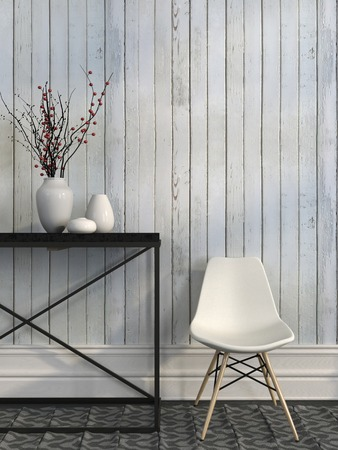 Modern white chair beside the metal table against the wall of white boards