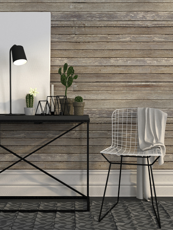 Modern white wire chair near the metal table against a wall of brown boards