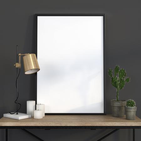 Maquette affiche dans un intérieur gris foncé avec une lampe d'or et une table en bois Banque d'images - 48781650