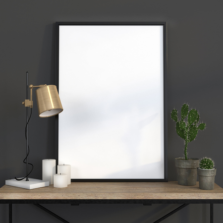 poster: Mock up poster in a dark gray interior with a  golden lamp and a wooden table