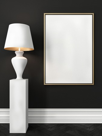 frame wall: Mock up poster in a dark gray interior with a white baseboard and a white floor lamp