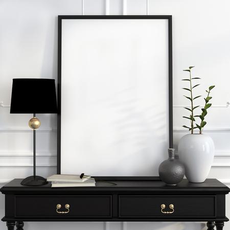 검은 램프, 흰색 꽃병과 골드 장식 검은 책상에 포스터를 조롱