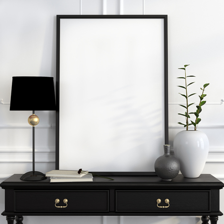 Mock up poster on the black desk with a black lamp, white vase and gold decoration Foto de archivo