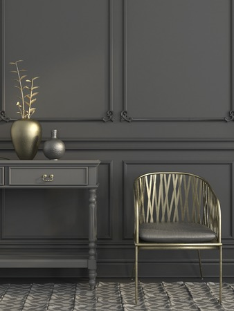 grey rug: Stylish gray interior  with a focus on the golden chair and the vase with a gold branch