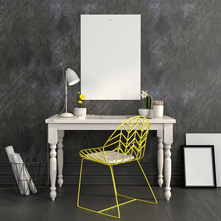 Stylish workplace in white and gray colors with a bright yellow chair and a Mock up poster on the wall