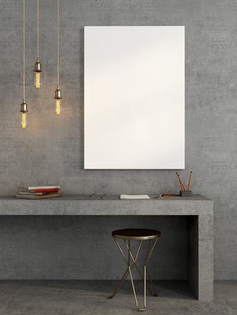 Stylish interior of the workplace in a concrete design with brass decor and a  Mock up canvas and Standard-Bild