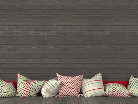 baseboard: Colorful cushions on the background of a gray wooden wall Stock Photo