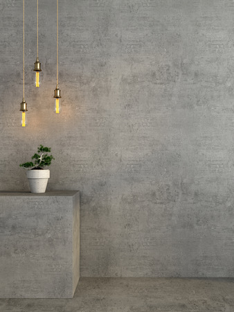 Concrete interior with a protrusion for flowerpot and hanging Edison light bulb Foto de archivo