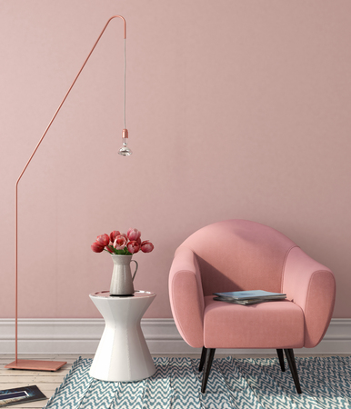 Interior in pink-and-blue color with a chair, a table and stylish copper floor lamp