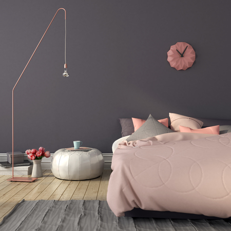Cozy bedroom in pink and gray color with a stylish copper  floor lamp