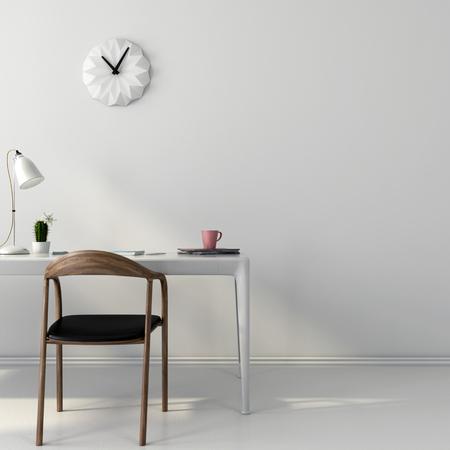 Stylowe białe miejsce pracy z brązowym drewnianym fotelem
