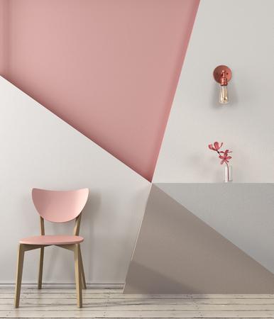 핑크와 그레이 색상의 기하학적 모양과 벽의 배경에 핑크 의자