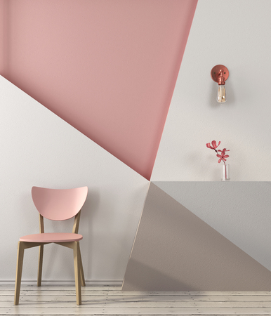 Pink chair on the background of a wall with geometric shapes in pink and gray colors