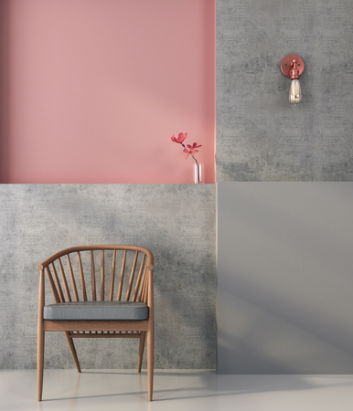 Wooden chair on the background of a wall with geometric shapes in pink and gray colors Standard-Bild
