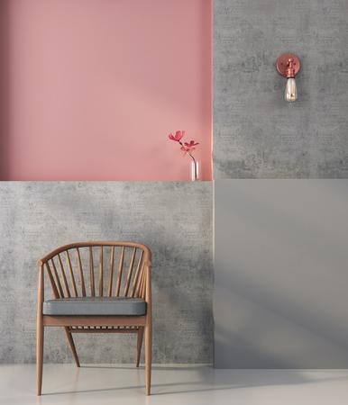 silla de madera: Silla de madera en el fondo de una pared con formas geométricas en colores rosados ??y grises