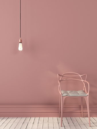 Pink interior composition with a chair and hanging Edison light bulb