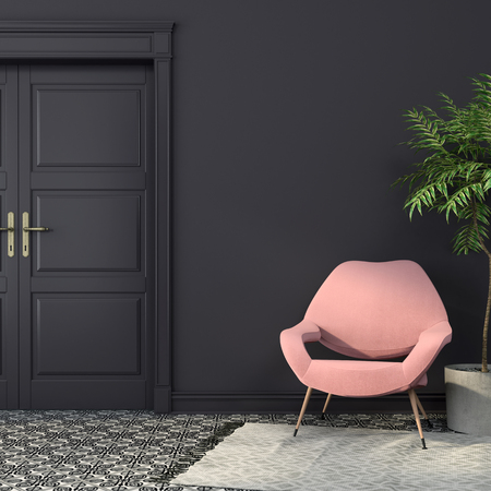 Stylish pink armchair in the interior with dark walls and a beautiful black-and-white tiles on the floor