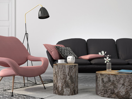 Stylish and modern living room in pink and gray color with coffee tables of stumps Standard-Bild
