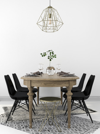 Served vintage wooden dining table, combined with the modern black chairs and a brass chandelier Stock Photo