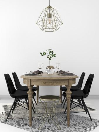 Serviert Vintage-Holz-Esstisch, mit den modernen schwarzen Stühlen kombiniert und einem Kronleuchter aus Messing