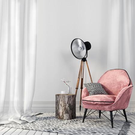 intérieur blanc Air avec une chaise rose élégante sur des pieds en métal et un projecteur cru Banque d'images