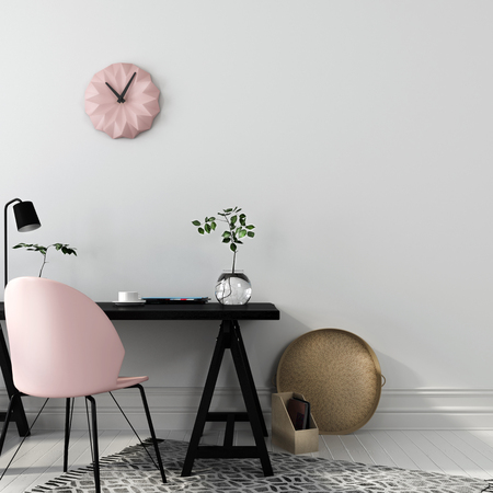 Stylish workplace with an interesting combination of a black wooden table and a pink chair