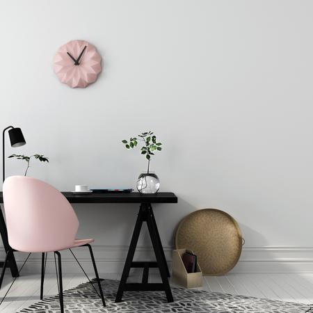 posto di lavoro elegante con una combinazione interessante di un tavolo di legno nero e una sedia rosa