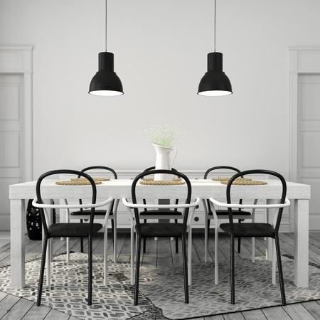 Intérieur de la salle à manger avec une grande table blanche avec des chaises noires