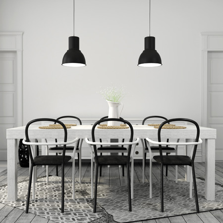 vase: Interior of dining area with a large white table with black chairs