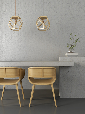 Modern interior which is based on the contrast between a concrete wall, table and wooden chairs and chandeliers