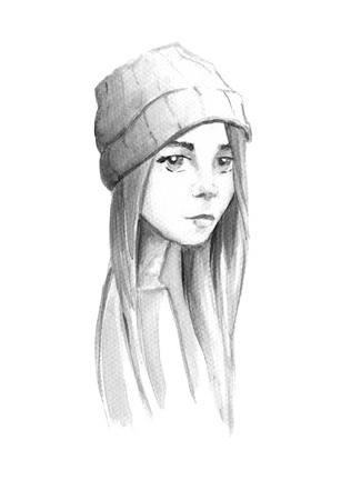 brows: Drawing in watercolor hipster girl with a hat Stock Photo