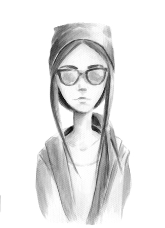 sun glasses: Drawing in watercolor hipster girl in a hat with sun glasses