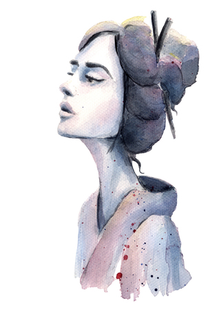 black hair blue eyes: Colorful watercolor painting of the Geisha in a kimono Stock Photo