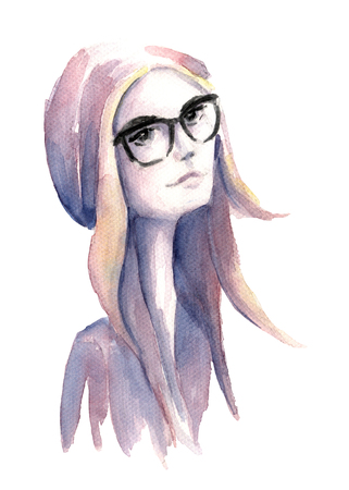 black hair blue eyes: Colorful watercolor painting of the hipster girl with glasses