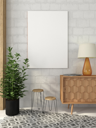 Mock up poster on white brick wall in interior with a wooden chest of drawers, and  stools