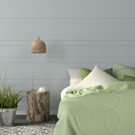 Bedroom interior in the bright green color with a bedside table in the form of a stump
