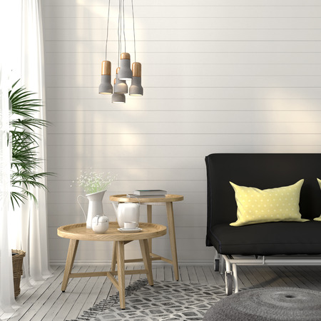 vase: Modern living room with dark gray sofa, wooden tables and concrete chandelier