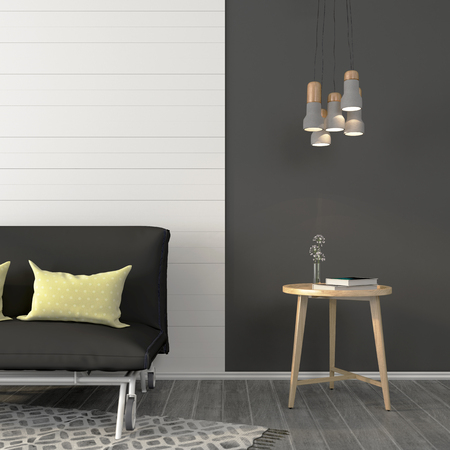 vase: Living room with a sofa and a small table near the dark gray wall decorated with white beams Stock Photo