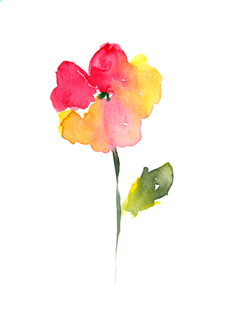 single flower: Isolated drawing of flower painted in watercolor on white background Stock Photo