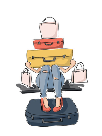 anticipation: Illustration of a girl with a lot of luggage in anticipation of travel