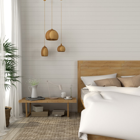 cor: Cozy bedroom with a light beige tones and wooden décor Stock Photo