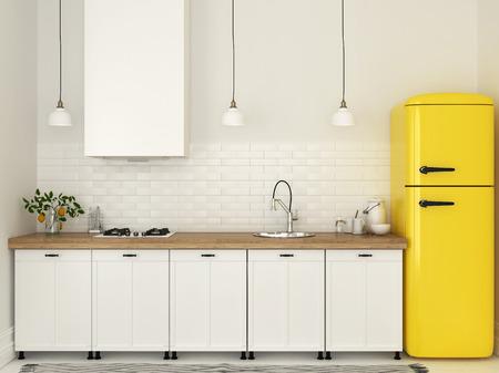 화이트 가구와 밝은 노란색 냉장고 밝은 부엌