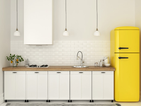 Bright kitchen with white furniture and a bright yellow fridge